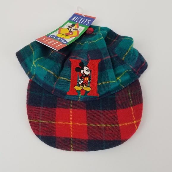 90's Disney Mickey Mouse Plaid Letterman Kids Hat